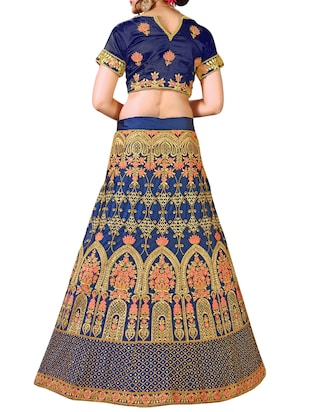floral embroidered a-line lehenga - 16257513 - Standard Image - 2
