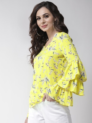layered bell sleeved floral top - 16258317 - Standard Image - 2