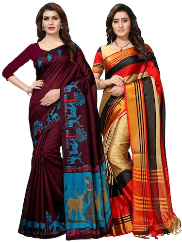 multi color saree combo (set of 2) with blouse - 16258799 - Standard Image - 1