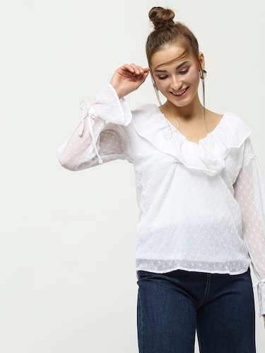 ruffle detail dobby top - 16259846 - Standard Image - 1