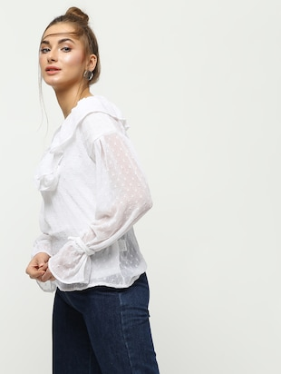 ruffle detail dobby top - 16259846 - Standard Image - 2