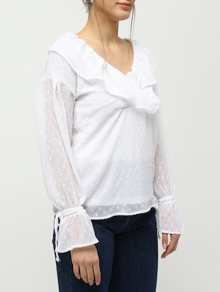 ruffle detail dobby top - 16259846 - Standard Image - 5
