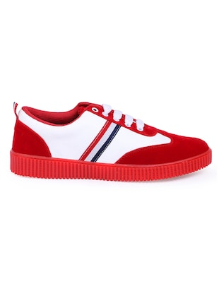red suede lace up sneakers - 16260757 - Standard Image - 2