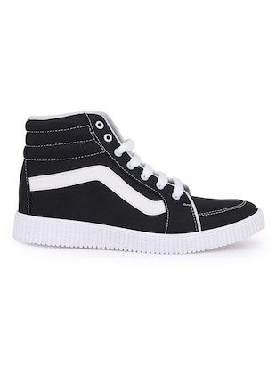 black canvas lace up sneakers - 16260770 - Standard Image - 2
