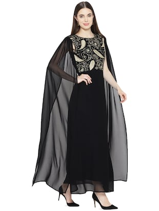 cape detail embroidered gown - 16262070 - Standard Image - 2