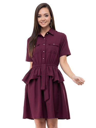 Ruffle detail a line dress - 16263162 - Standard Image - 1
