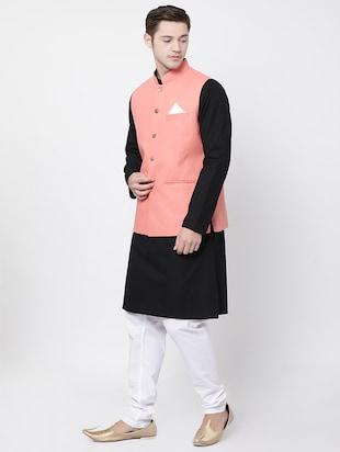 72f768fba black cotton kurta pyjama set with nehru jacket - 16263945 - Standard Image  - 2 ...