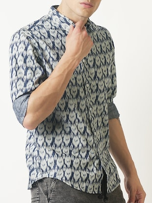 blue printed casual shirt - 16265208 - Standard Image - 2