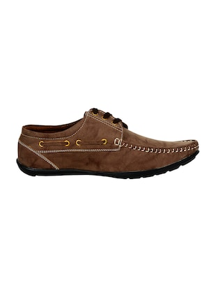 brown leatherette lace up boatshoes - 16265666 - Standard Image - 2