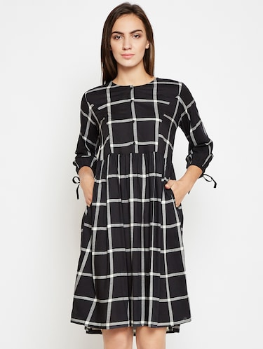Sleeve detail checkered pocket dress - 16269719 - Standard Image - 1