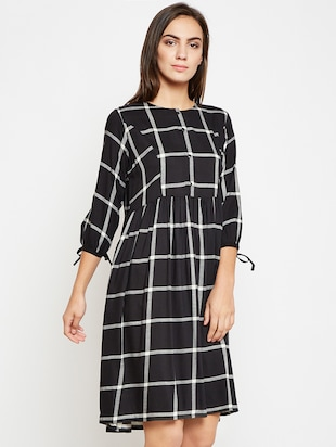 Sleeve detail checkered pocket dress - 16269719 - Standard Image - 2