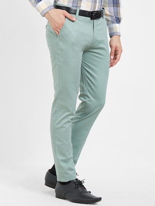 green flat front casual trouser - 16270659 - Standard Image - 2