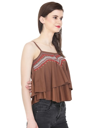 Embroidered layered crop top - 16272225 - Standard Image - 2