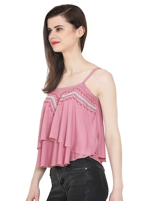 Embroidered layered crop top - 16272228 - Standard Image - 2