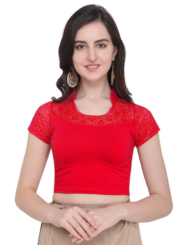 red cotton blend solid blouse - 16272554 - Standard Image - 1