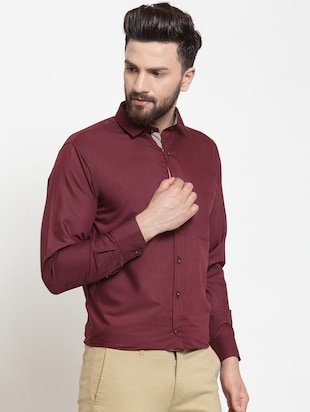 red solid formal shirt - 16274374 - Standard Image - 2