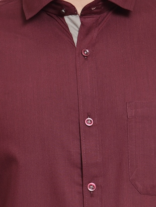 red solid formal shirt - 16274374 - Standard Image - 5