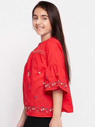 red cotton regular top - 16274924 - Standard Image - 2