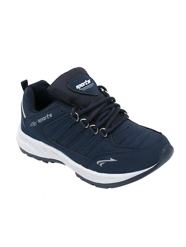 navy blue leatherette sport shoes - 16275780 - Standard Image - 1
