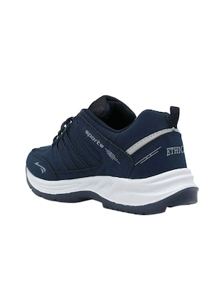 navy blue leatherette sport shoes - 16275780 - Standard Image - 2