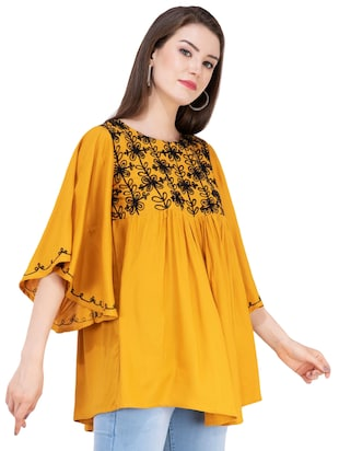 gather detail embroidered top  - 16282569 - Standard Image - 2