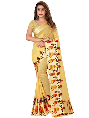 Conversational printed saree with blouse - 16282684 - Standard Image - 1
