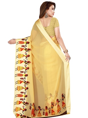 Conversational printed saree with blouse - 16282684 - Standard Image - 2
