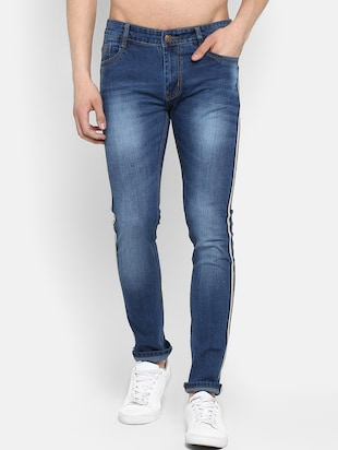 blue heavy washed side tape jeans - 16285837 - Standard Image - 2