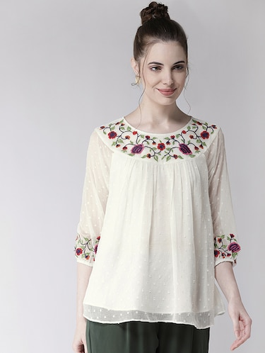 be025277321ab0 Buy White Lace Wrap Top for Women from Kazo for ₹1324 at 47% off ...