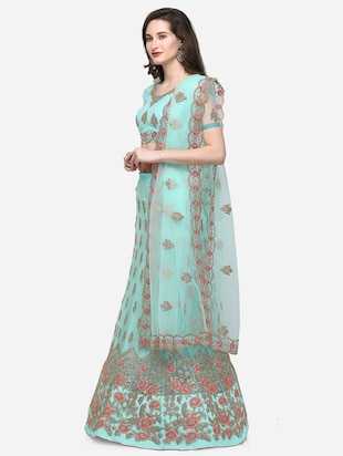 floral embroidered flared lehenga - 16287462 - Standard Image - 2