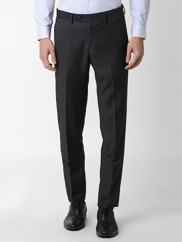 navy blue flat front formal trouser - 16289282 - Standard Image - 1