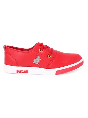 red leatherette lace up sneakers - 16292222 - Standard Image - 2