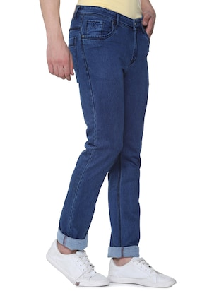 blue cotton plain jeans - 16293547 - Standard Image - 2