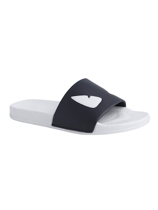 black leatherette slip on flip flops - 16310344 - Standard Image - 2