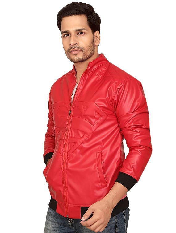 7d7ef718e348 ... red faux leather biker jacket - 16310838 - Zoom Image - 2