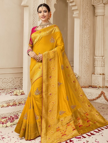 1f34dd22c Vimal Saree Yellow Dupion Silk Embellished Sari