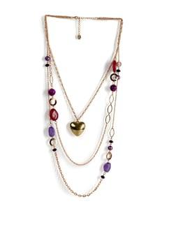 Multicoloured Golden Heart Necklace - Addons