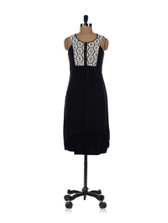 Black Dress With Lace Patch Neck - AND