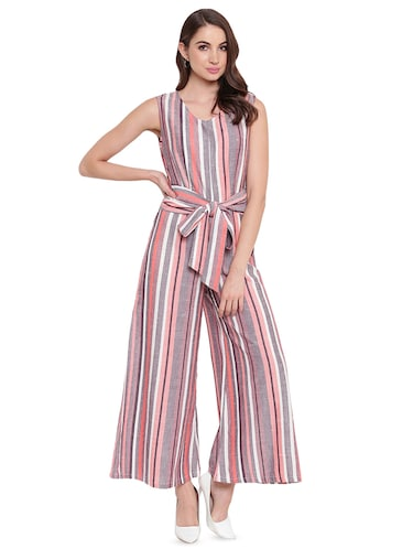 Beloved Womens Sleeveless Ruffle Polka Dot Print Long Pants Party Jumpsuits Romper