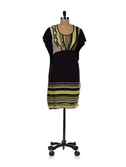 Black Dress With Neon Pop Up Colors - AND