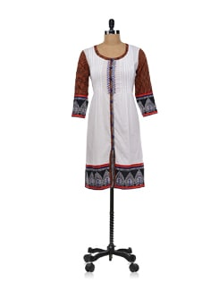White Button Down Kurta With Small Harlequin Checks Print - Global Desi