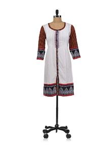 White Button Down Kurta With Small Harlequin Checks Print - Global Desi