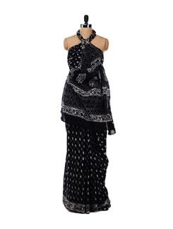 Black Printed Cotton Saree - Nanni Creations 16697