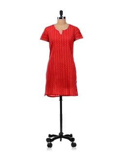 Red Zig-zag Print Kurta - WILD WOMAN