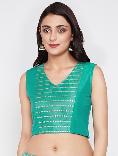Neay Blue Cotton Net Streachable Blouse New Readymade Stitched Saree Choli Top Tunic Sari Blouse For Bridal Wedding Wear,Party Wear Blouse