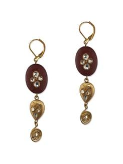 Wine And Gold Semi Precious Stone Earring - Eesha Zaveri; Jewellery By Design