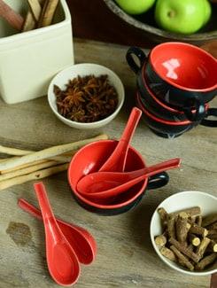 Gala Soup Mugs - Orange And Black - Set Of 6 - Cultural Concepts