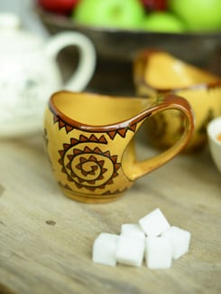 Warli Curved Mugs - Set Of 4 - Cultural Concepts