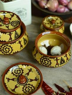 Warli Handi Set With Lid - Set Of 4 - Cultural Concepts