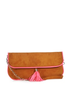 Hot Pink And Camel Clutch - Tamarind